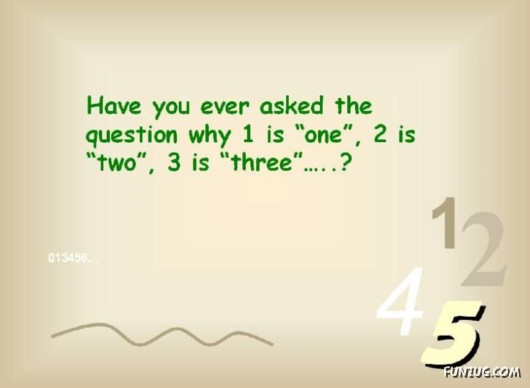 Why One is 1 and Two is 2 ?