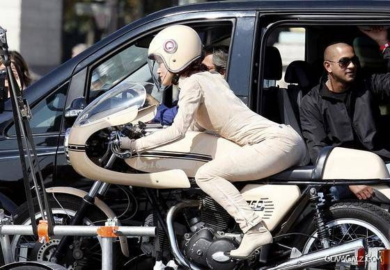 Keira Knightley on A Motor Bike